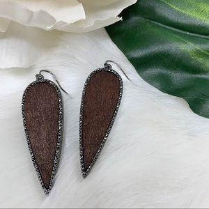 NWOT MARLYN SCHIFF wood earrings rhinestone